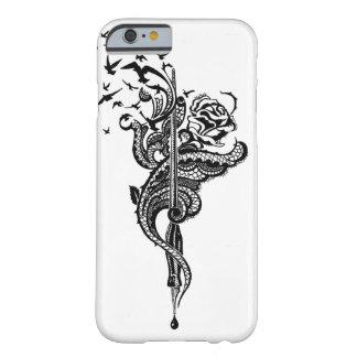 Funda Barely There iPhone 6 Pluma nerviosa del cordón, ejemplo subió y de los