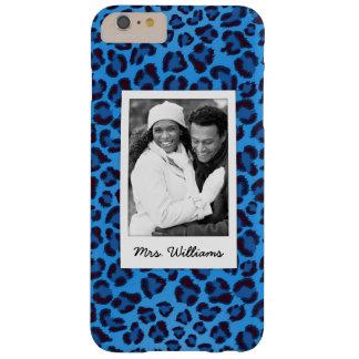 Funda Barely There iPhone 6 Plus Añada su textura azul del leopardo de la foto el |
