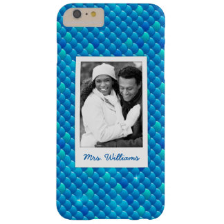 Funda Barely There iPhone 6 Plus Añada sus escalas de pescados azules de neón de la