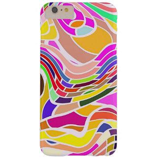 Funda Barely There iPhone 6 Plus Arte abstracto colorido, líneas blancas de las