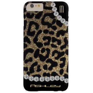 Funda Barely There iPhone 6 Plus Brillo del monograma del leopardo