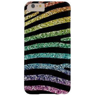 Funda Barely There iPhone 6 Plus Caja de la raya de la cebra del purpurina del arco