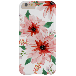 Funda Barely There iPhone 6 Plus Caso rosado del navidad de la baya del Poinsettia