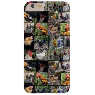 Funda Barely There iPhone 6 Plus Collage de la foto de los pollos y de los gallos,