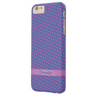 Funda Barely There iPhone 6 Plus Estrellas del rosa en un fondo azul