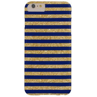 Funda Barely There iPhone 6 Plus Falso brillo elegante del oro y modelo de la raya
