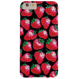 Funda Barely There iPhone 6 Plus Fresa roja en fondo negro