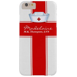 Funda Barely There iPhone 6 Plus Gorra de las enfermeras en personalizado rojo y