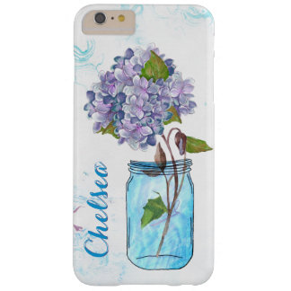 Funda Barely There iPhone 6 Plus Hydrangea de la lila en tarro azul luminoso