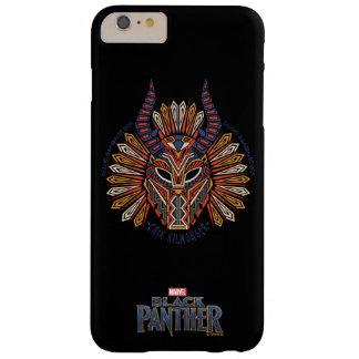 Funda Barely There iPhone 6 Plus Icono tribal negro de la máscara de la pantera el