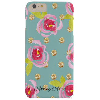 Funda Barely There iPhone 6 Plus Lunares relucientes con la caja floral de la