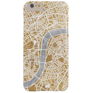 Funda Barely There iPhone 6 Plus Mapa dorado de la ciudad de Londres