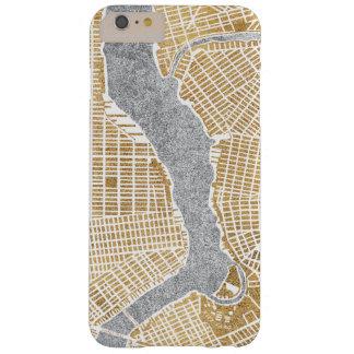 Funda Barely There iPhone 6 Plus Mapa dorado de la ciudad de Nueva York