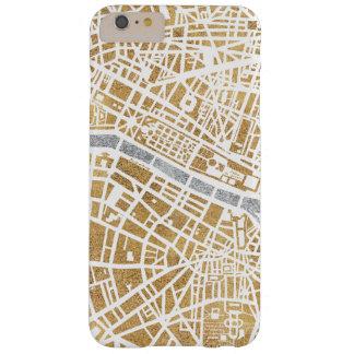 Funda Barely There iPhone 6 Plus Mapa dorado de la ciudad de París