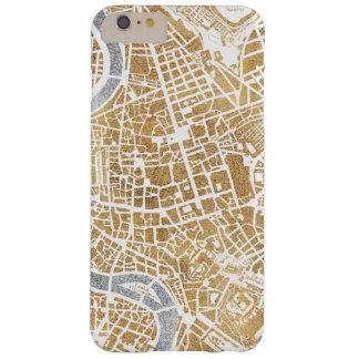 Funda Barely There iPhone 6 Plus Mapa dorado de la ciudad de Roma