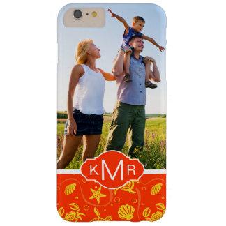 Funda Barely There iPhone 6 Plus Modelo anaranjado de la playa del monograma el  