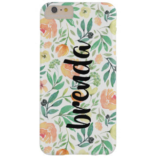Funda Barely There iPhone 6 Plus Modelo de flores del melocotón y monograma de la