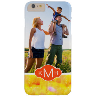 Funda Barely There iPhone 6 Plus Monograma amarillo y rojo de la acuarela el |