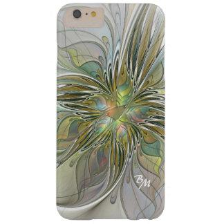 Funda Barely There iPhone 6 Plus Monograma floral de la flor del fractal del