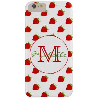 Funda Barely There iPhone 6 Plus Monograma lindo del modelo el | de la fresa