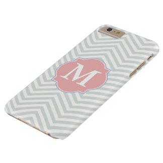 Funda Barely There iPhone 6 Plus Monograma moderno gris y atractivo del