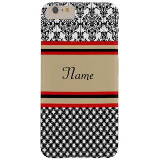 Funda Barely There iPhone 6 Plus Monograma negro del damasco