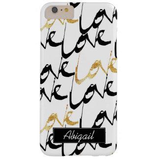 Funda Barely There iPhone 6 Plus Negro y caja del teléfono del monograma del amor