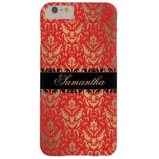 Funda Barely There iPhone 6 Plus Nombre elegante del personalizado del damasco del