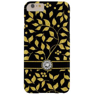 Funda Barely There iPhone 6 Plus Oro y monograma negro GR3 del modelo de las hojas