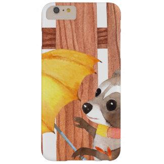 Funda Barely There iPhone 6 Plus racoon con el paraguas que camina por la cerca