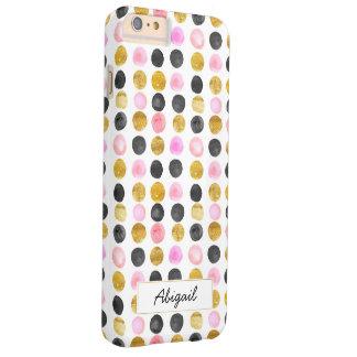 Funda Barely There iPhone 6 Plus Rosa y caja del teléfono del monograma del lunar
