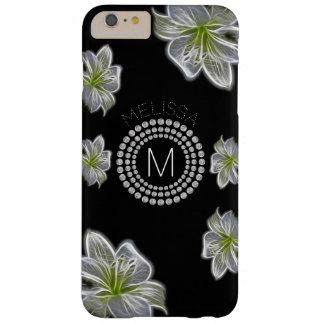 Funda Barely There iPhone 6 Plus Seis flores blancas con los diamantes y su nombre