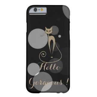 Funda Barely There iPhone 6 Puntos grises en el fondo negro, gato, hola