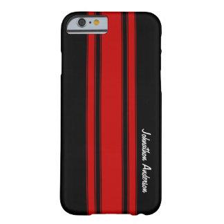 Funda Barely There iPhone 6 Rayas que compiten con rojas y negras modernas con