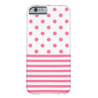Funda Barely There iPhone 6 Rayas y Polkadots - iPhone rosado 6/6s, caja del