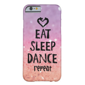 Funda Barely There iPhone 6 Reluciente coma, duerma, baile el caso