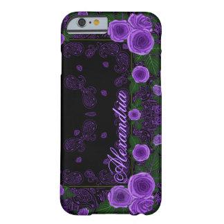 Funda Barely There iPhone 6 Rosas de la frambuesa y plantilla conocida del