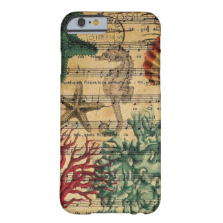 Funda Barely There iPhone 6 seashell coralino costero elegante del seahorse de