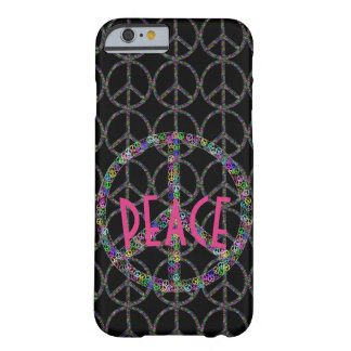 Funda Barely There iPhone 6 Signo de la paz de la flor en negro