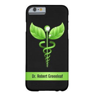 Funda Barely There iPhone 6 Símbolo médico verde de la medicina alternativa