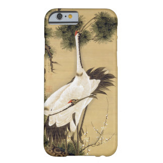 Funda Barely There iPhone 6 sol del 旭日松鶴図, de las grúas del 若冲 y de la mañana,
