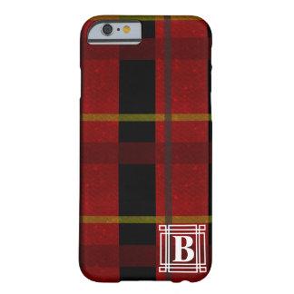 Funda Barely There iPhone 6 Tela escocesa con el monograma blanco