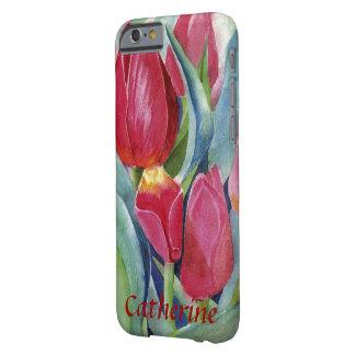 Funda Barely There iPhone 6 Tulipanes en acuarela roja y rosada