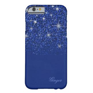 Funda Barely There Para iPhone 6 Azul chispeante del zafiro con purpurina
