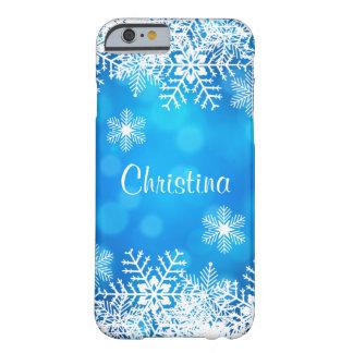 Funda Barely There Para iPhone 6 Caja azul del iPhone 6 de los copos de nieve del