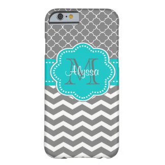 Funda Barely There Para iPhone 6 Chevron gris oscuro y azul personalizado