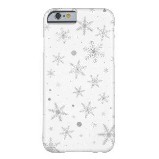 Funda Barely There Para iPhone 6 Copo de nieve del centelleo - gris y Blanco de