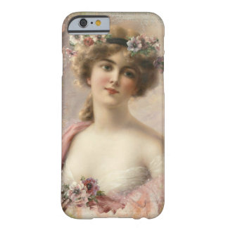 Funda Barely There Para iPhone 6 Ejemplo romántico del chica del vintage, caso del