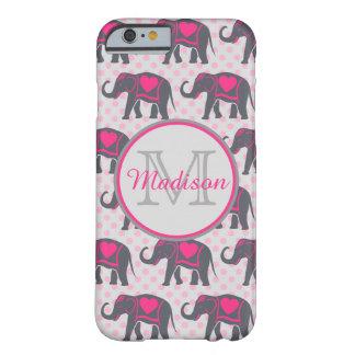 Funda Barely There Para iPhone 6 Elefantes de rosas fuertes grises en los lunares