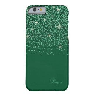 Funda Barely There Para iPhone 6 Glitz y purpurina esmeralda chispeantes